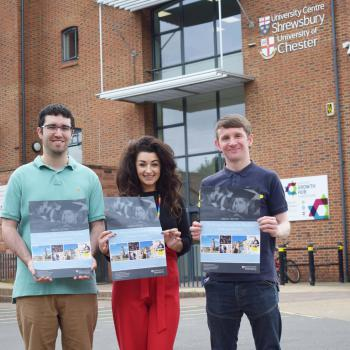 Left to right: Harrison Kennedy, Kelly Gardener and Rob Kerr - students and staff beginning the countdown.